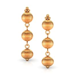 Trio Beads Gold Drop Earrings