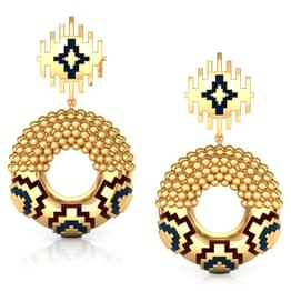 Contrast Enamel Gold Drop Earrings