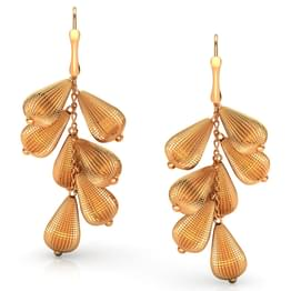 Bunched Beads Gold Drop Earrings