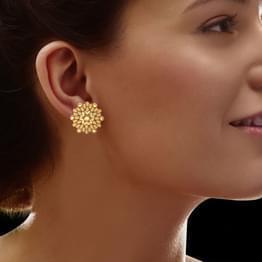 Drop and Bead Gold Stud Earrings
