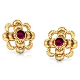 Crimp Floret Gold Stud Earrings