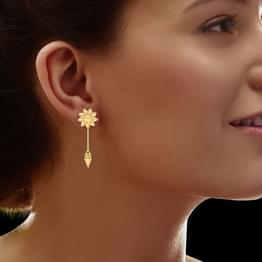 Edged Cone Gold Drop Earrings