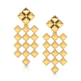 Faceted Grid Gold Drop Earrings