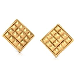 Faceted Square Gold Stud Earrings