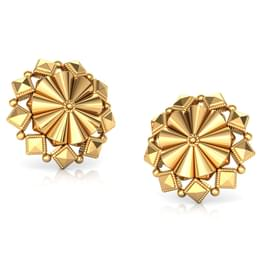Conical Sphere Gold Stud Earrings