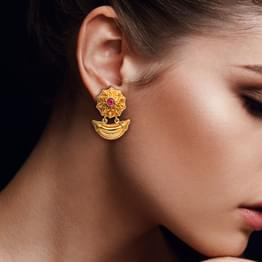 Petals and Crescent Gold Drop Earrings