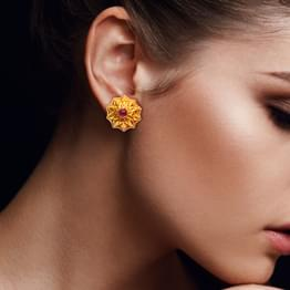 Dome Petals Gold Stud Earrings