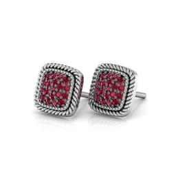 Pave Square Stud Earrings