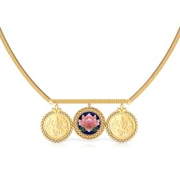 Suniti Lotus and Coin Gold Necklace
