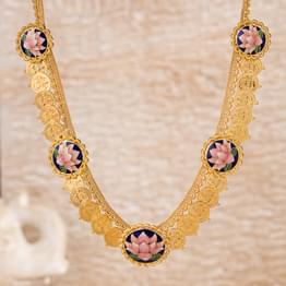 Latika Lotus and Coin Gold Necklace