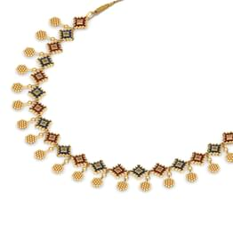Granular and Enamel Gold Necklace