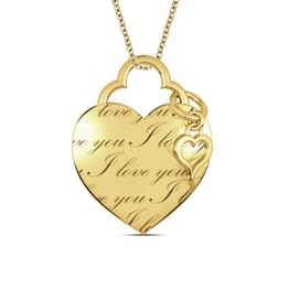 Engraved Heart & Charm pendant, 18K Yellow Gold