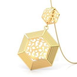 Hex Cutwork Gold Pendant