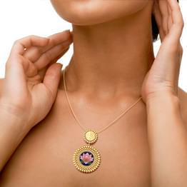 Saanvi Lotus and Coin Gold Pendant