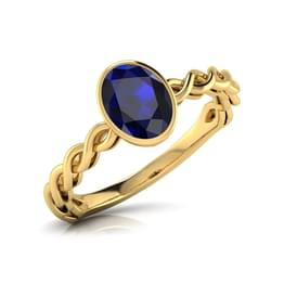 Wave Blue Sapphire Birthstone Ring