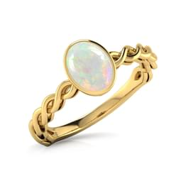 Wave Opal Birthstone Ring
