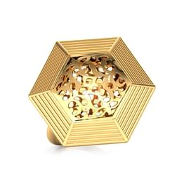 Hex Cutwork Gold Ring