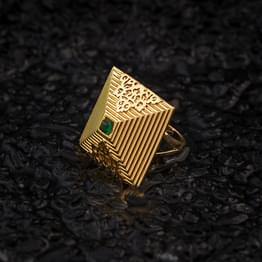 Square Deco Gold Ring