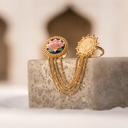 Ramya Lotus and Coin Gold Ring