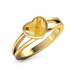 Blazing Citrine Heart Ring