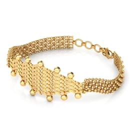 Intricate Bead and Leaf Gold Bracelet