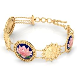 Trusha Lotus and Coin Gold Bracelet