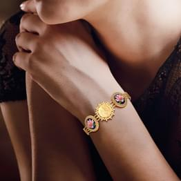 Kalki Lotus and Coin Gold Bracelet