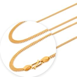 Trio Strand Ball Gold Chain